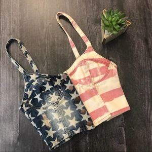 Topshop American Flag denim balconette crop top